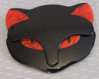 Lea Stein Paris BACCHUS BLACK CAT kitty face with red eyes & ears cellulose acetate plastic brooch pin