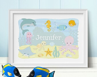 Ocean Animals Personalised Print