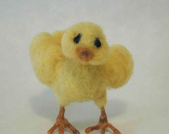 Chick, yellow, needle felted, wool, handmade