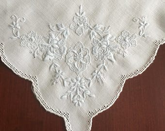 Beautiful Vintage Appenzell White Linen Napkin with Blue Floral Embroidery