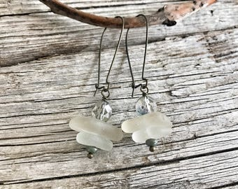 Sea glass from Pacific coast, Earrings