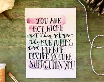 5 x 7 Inspirational watercolor print, survivor encouragement faith divine feminine spiritual support empowerment quote card art | 5 x 7 in.