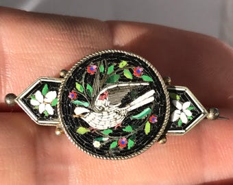 Seller away til 11 Aug Antique Italian micro mosaic peace dove brooch pin in 800 silver