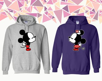 Love Mickey Minnie Kissing Hooded Sweatshirt Love Mickey Minnie Couple Hoodie Couple Hoded Sweatshirt Couple Sweater Gift For Couple