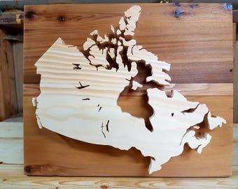 Wooden Map of Canada