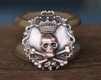 Crowned Skull and Crossbones French Brass Pendant