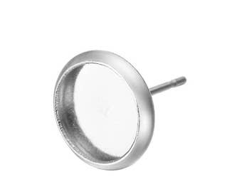 Stainless Steel Inlayed Round Disc Shape Earring Studs