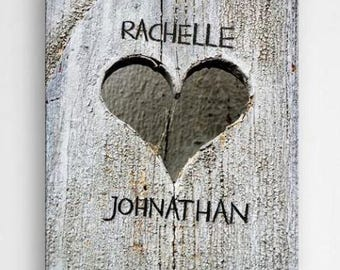 Hand Carved Heart Personalized Canvas