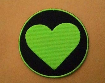 Circle of green heart Iron on Patch.