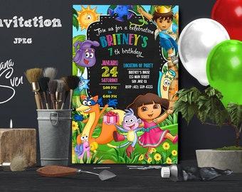 Dora The Explorer Invitation, Dora The Explorar Printable Invite, Dora Birthday Party Card, Dora The Explorer Chalkboard Custom Invitation