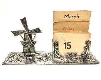 Victorian Antique Dutch, Holland, Netherlands,  19c Sterling Silver Articulating Windmill Souvenir Calendar - Desk Calendar