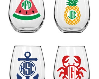 Summer Stemless Wine Glasses