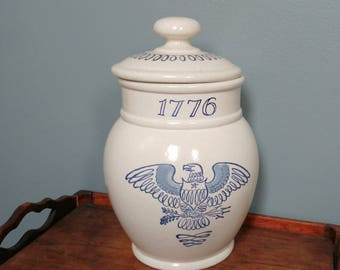 Vintage 1776 Stone Ware Canister // Cookie Jar, Tea or Coffee Canister // Farmhouse Decor