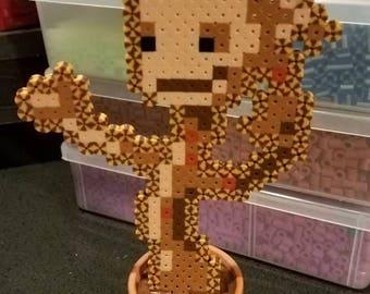 Groot in flower pot Pixel Perler Sprite