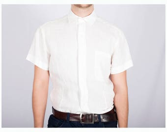 """White linen men's shirt """"Slim""""- Office shirt - Mens formal and business shirt - Natural linen shirt"""