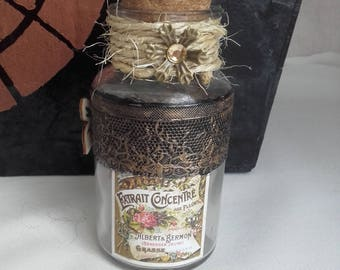 "Nice bottle in glass apothecary ""Concentrate of flowers"""