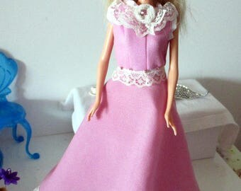 Dress for Barbie pink with lace and glitter