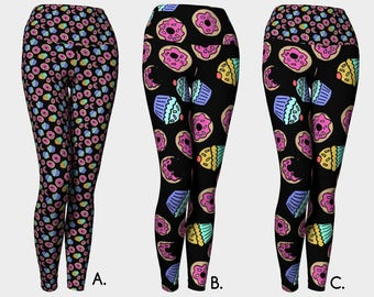 Dessert Donuts and Cupcakes Novelty Yoga Leggings Sprinkles in Black |  Workout Gear