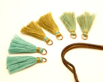 6 pompons, Khaki, green water, ring metal copper
