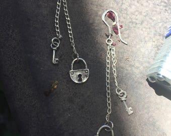 Sterling Silver long dangling lock and key earrings