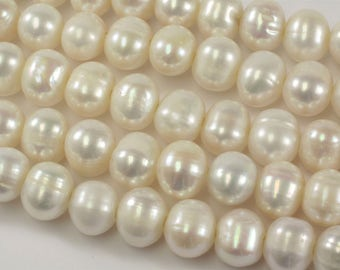 11 to 12 mm AA Large Hole Freshwater Pearl Bead Potato Shape White Color, Genuine Freshwater Pearl Beads, Potato Pearls  (73-LHPW1112)