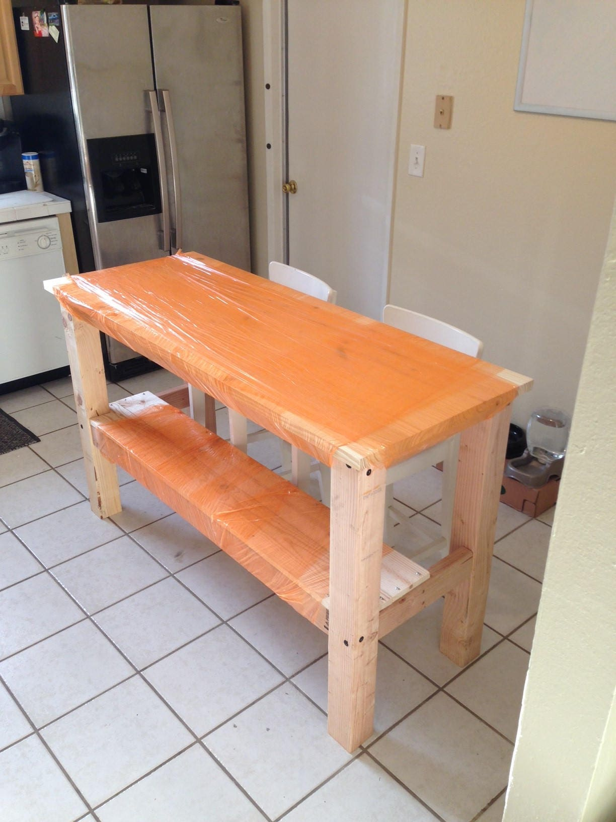 1 Half Shelf Kitchen Island Butcher Block Style Table With