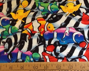 Clown fish cotton fabric by the yard