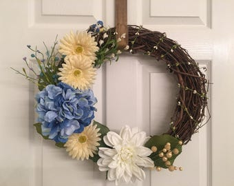 Blue yellow and white Spring Wreath