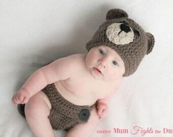 Crochet Baby Brown Bear Outfit / Baby Bear Hat / Crochet Bear Hat / Newborn Photo Prop / Baby Shower Gift