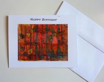 Happy Birthday, hand made card, hand painted card, abstract flowers, vibrant, happy, rustic birthday card, ink and watercolor, original, art