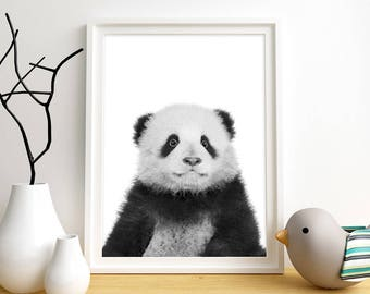 Panda Print, Panda Wall Art, Animal Wall Art, Baby Animal Printable, Instant Digital Download, Black & White Wall Art, Bear Wall Art Print