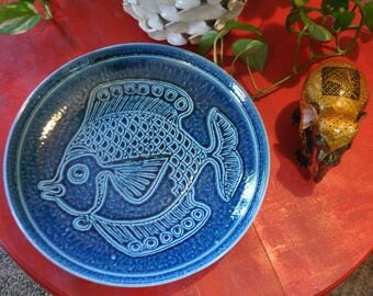 Vintage Blue Fish Plate, Decorative Plate, Norway