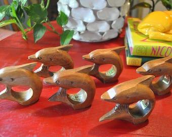 6 Mid Century Modern Teak Wood Dolphin Napkin Rings