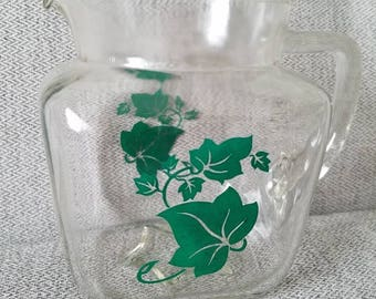 Small Federal Glass Milk Pitcher Leaf Pattern