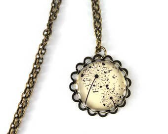 Retro necklace motif dandelion notes of music vintage cabochon