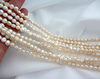 Irregular Ivory River pearls/ PEARLS/ ivory of 4x5x6 mm hole 0/5 mm strand 60 pearls