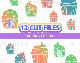 Cupcake Svg, Cupcake Clipart, Cupcake Monogram, Cake Svg, Sweets Digital Files, Svg File For Cricut, Svg File Silhouette, Commercial Use Svg