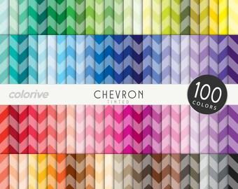 Tinted Chevron digital paper 100 rainbow colors classic medium chevron background bright pastel printable scrapbooking paper