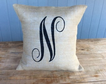 Burlap Pillow, Monogram Burlap Pillow, Rustic Pillow, Throw Pillow, Burlap Pillow, Outdoor Pillow, Custom Pillow, Canvas Pillow