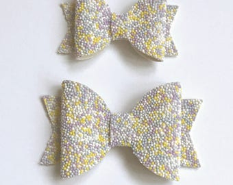 Yellow Hundreds and Thousands Dolly Bow.
