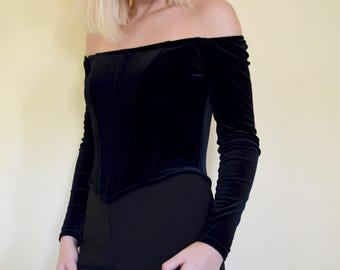 black velvet off the shoulder scott mcclintock corset top