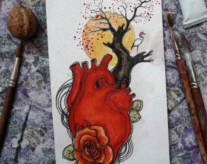 Surreal heart illustration, ORIGINAL painting by TATIANA BOIKO natural heart painting, crane, wall art, wall haning, wall decor, art card