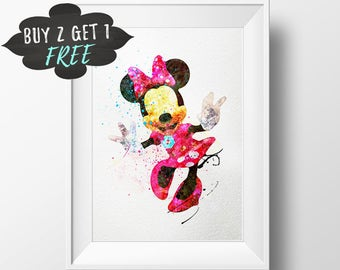 Minnie Mouse Art Print Poster, Disney Wall Art Nursery Decor Printable Watercolor Instant Download, Girls Room Baby Nursery Decor