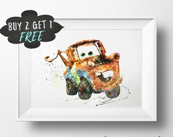 Disney Cars Art Print Poster, Tow Mater Cars Wall Art Nursery Decor Printable, Watercolor Instant Download, Printable Gift Kids Room Decor