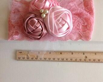baby pink headband,flower headband,ribbon flower hedband,baby girl headband,baby accessories,pearl and flower headband,wedding baby headband