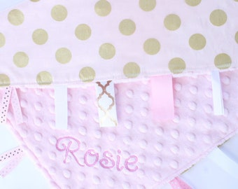 Personalized Ribbon Blanket- You Choose Size- Light pink and Gold Dots- Glitz-  Minky Lovey Blanket
