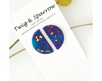 Blue + Copper Moon Stud Earrings