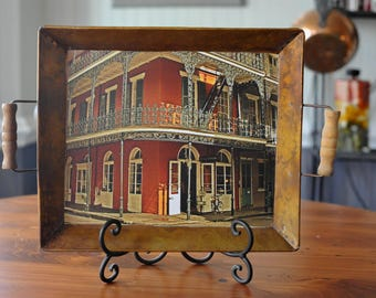 Decorative Copper tray with French Quarters New Orleans building in the center