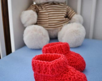 Wool Baby Slippers - Red