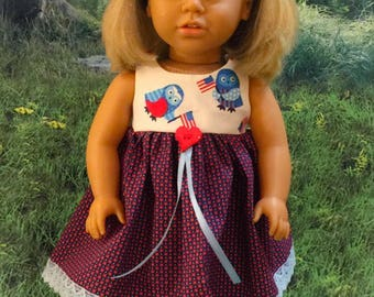 18 inch Doll Dress Clothes Patriotic Red White and Blue Owls 4th of July fits American Girl Independence Day